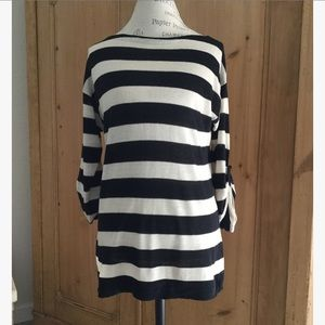 J.Crew silk and linen striped top